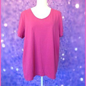 Woman Within Pink Short Sleeve Tee Petite Large